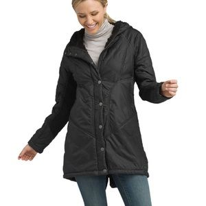Prana Quilted Diva Long Black Jacket